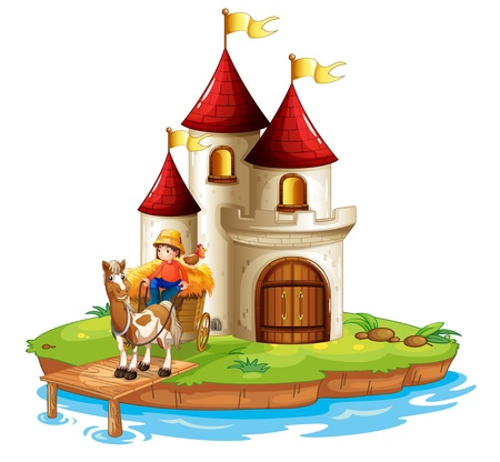Ilustración de un niño y su carro delante de un castillo sobre un fondo blanco