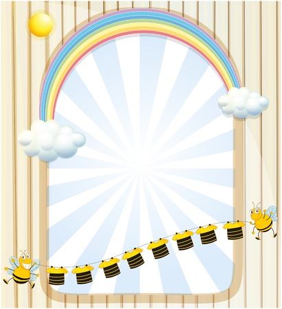 Illustration of an empty space with bees and stripe shirts Vector