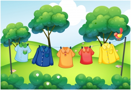 Illustration of the washed clothes hanging at the top of the hills Vector