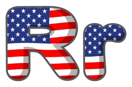 star spangled: Illustration of United states letter of the alphabet Illustration