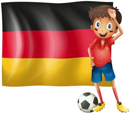 Illustration of a boy with a soccer ball in front of the flag of Germany on a white background Stock Vector - 18835991
