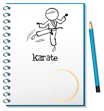 Illustration of a notebook with a sketch of a karate athlete on a white background Stock Vector - 18835738