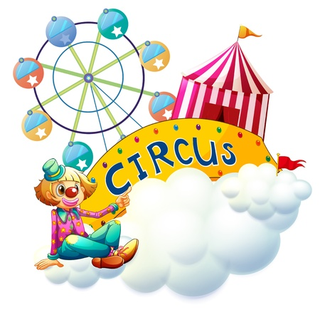 Illustration of a female clown beside the circus signboard on a white background