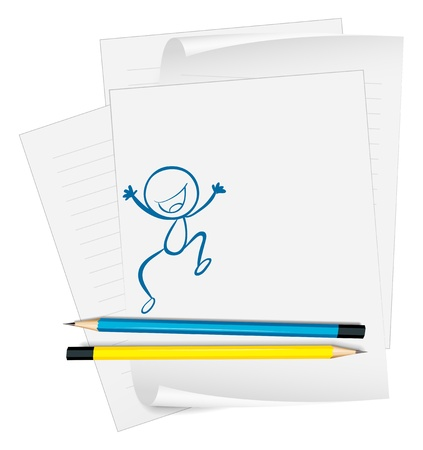 Illustration of a paper with a sketch of a happy boy jumping on a white background Stock Vector - 18835698