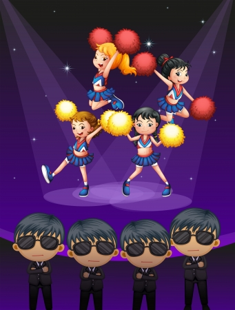 Illustration of of the four cheerdancers dancing with spotlights Stock Vector - 18836121