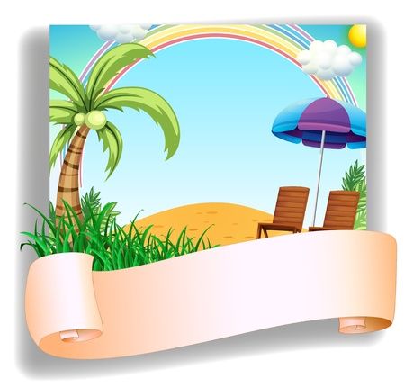 Illustration of a beach chair and an umbrella with a signage on a white background Vector