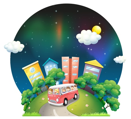 Illustration of a bus full of kids on a white background Vector