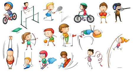 Illustratie van de verschillende sportieve activiteiten op een witte achtergrond Vector Illustratie