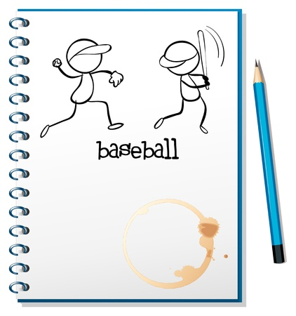 picutre: Illustration of a notebook with a sketch of the baseball players on a white background