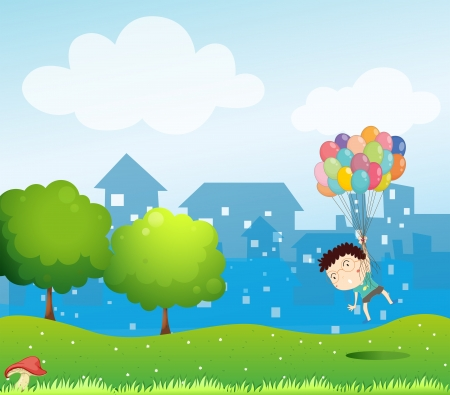 mushroom cloud: Illustration of a boy floating in the air with the balloons Illustration