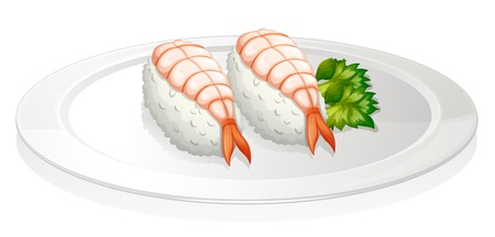 melaware: Illustration of the sushi in a round plate on a white background
