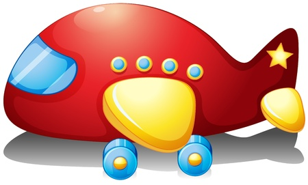 Illustration of a red airplane toy on a white background Vector