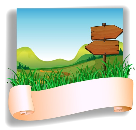 arrow wood: Illustration of an empty signage and the empty arrow boards Illustration