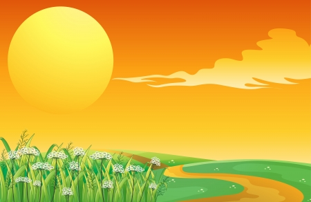 pathways: Illustration of a sunset at the top of the hill with a pathway Illustration