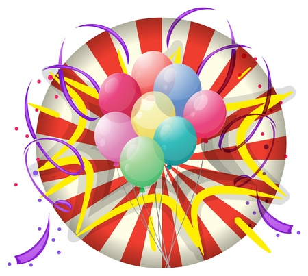 spinning wheel: Illustration of a spinning wheel with balloons at the center on a white background Illustration
