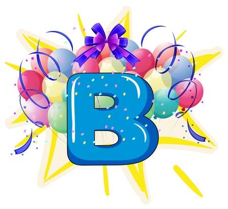 yıldız: Balon ve harf arkasında kutlama İllüstrasyon Çizim