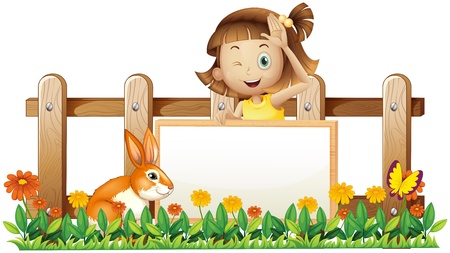 Illustration of a girl holding an empty framed banner with a rabbit near the wooden fence  on a white background Stock Vector - 18836093