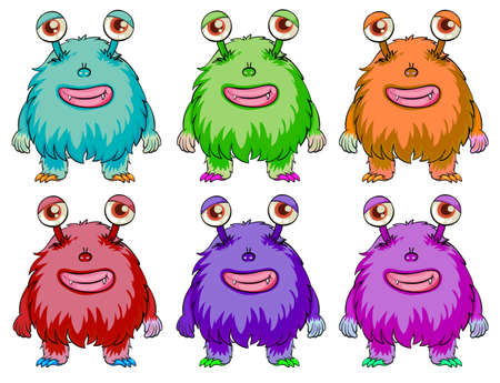 Illustration of the six colorful aliens on a white background Vector