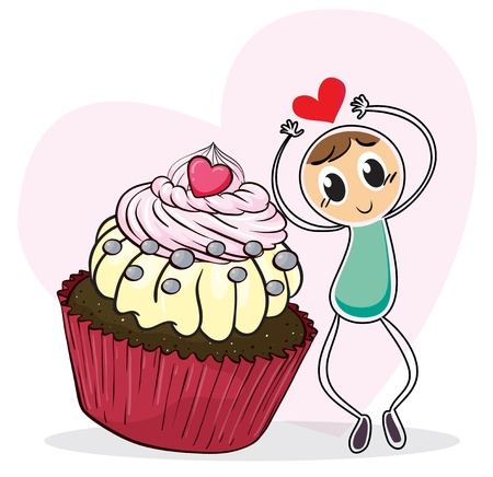 Illustration of a cupcake and a sketch of a man with a red heart on a white background Vector