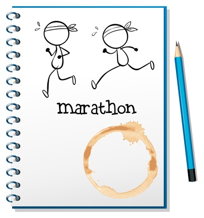 two page: Illustration of a notebook with two runners in the cover page on a white background Illustration