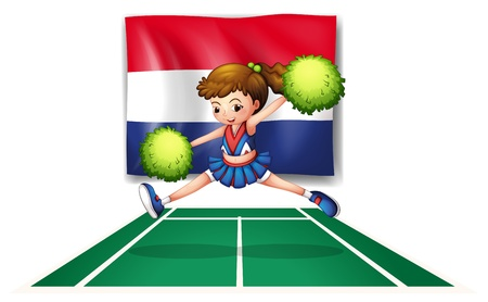 Illustration of the flag of Netherlands and the young cheerdancer on a white background Stock Vector - 18835920