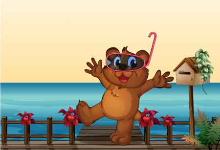 Illustration of a young bear at the wooden bridge