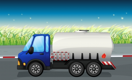 Illustration of an oil tanker at the road Vector