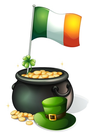feast of saint patrick: Illustration of a  flag, a clover plant, a pot of gold and a green hat on a white background Illustration