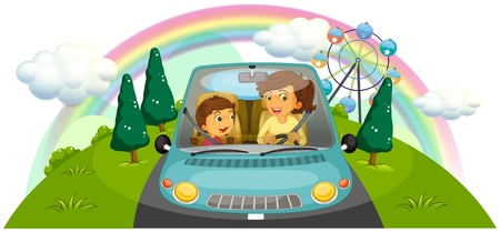 Illustration of a mother driving the car with her daughter on a white background Vector