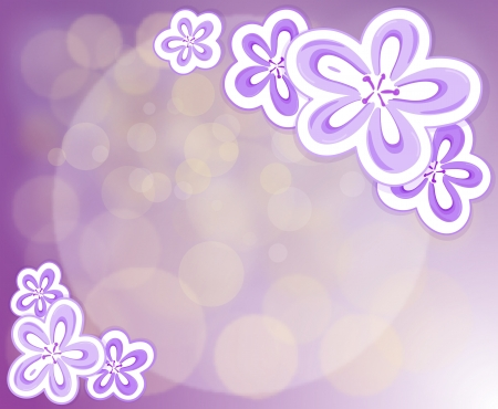 Illustration of a lavender stationery with flowers Vector