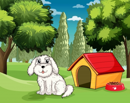 doghouse: Illustration of a white puppy outside his doghouse