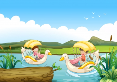 playing field: Illustration of the two swan boats at the river Illustration