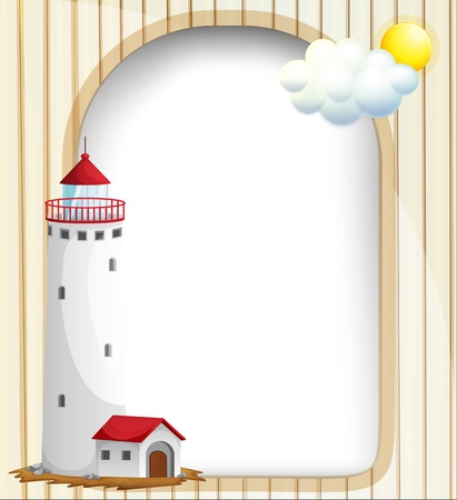 Illustration of an empty template with a high tower Vector