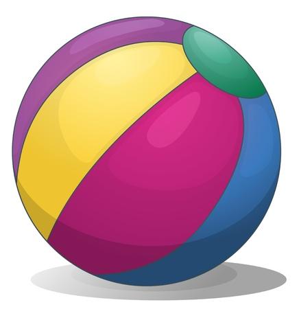 balon de voley: Ilustración de una pelota de playa inflable colorido sobre un fondo blanco Vectores
