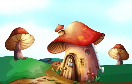 Illustration of a mushroom house at the top of the hill Vector