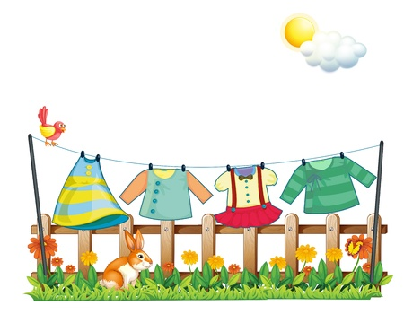 Illustration of a bunny below the hanging clothes on a white background Vector