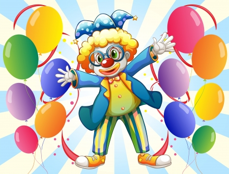 a 12: Illustration of a male clown and the twelve balloons on a white background