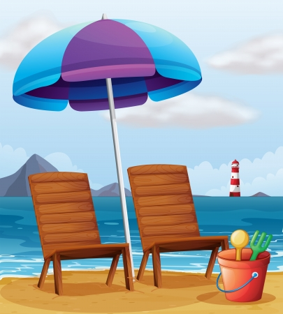 Illustration of a beach with an umbrella and chairs Stock Vector - 18836087