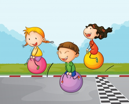 bouncing: Illustration of the three kids at the street with their bouncing balls
