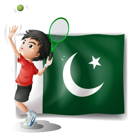 pakistan flag: Illustration of the Pakistan flag and the tennis player on a white background