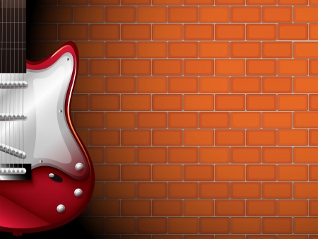 Illustration of a guitar in front of a brick wall Stock Vector - 18836096
