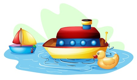toy boat: Illustration of the toys at the pond on a white background Illustration