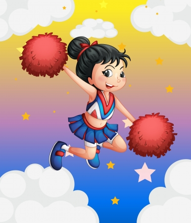 picure: Ilustration of a pretty cheerleader with her red pompoms