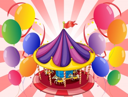 amusement park rides: Illustration of a carousel at the center of the balloons