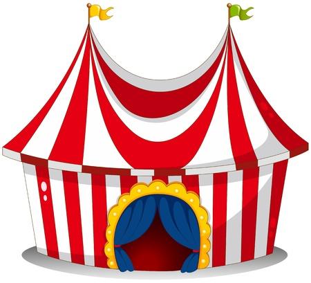 палатка: Иллюстрация цирк-шапито на белом фоне
