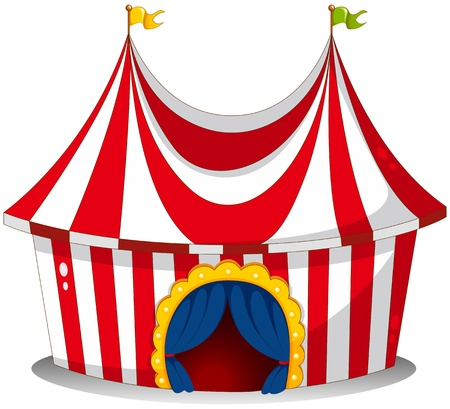cartoon circus: Illustration of a circus tent on a white background
