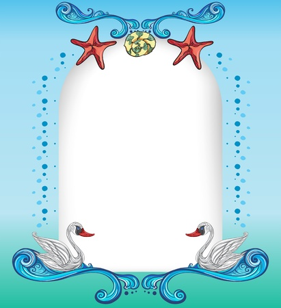 seastar: Illustration of an empty surface with starfishes and swans Illustration