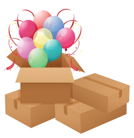 Illustration of the balloons inside the box on a white background Stock Vector - 18835878