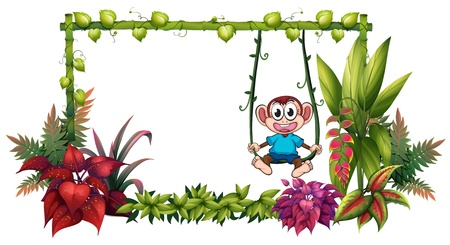 bamboo stick: Illustration of an empty frame made of bamboo with a monkey on a white background
