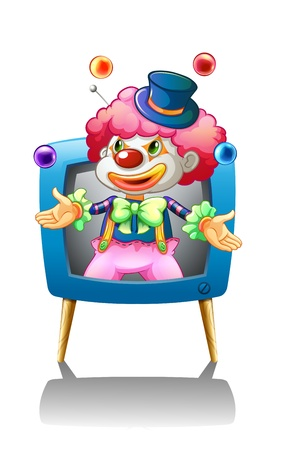 Illustration of a clown inside the blue television on a white background  Vector